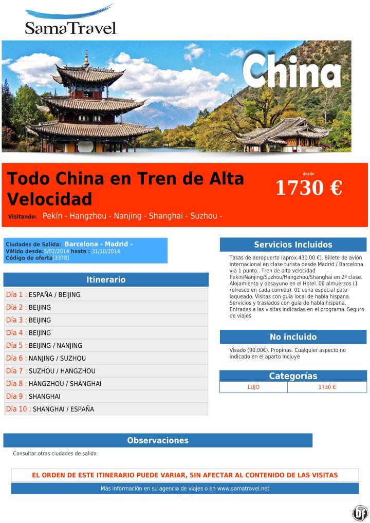Todo China en Tren de Alta Velocidad desde 1730 € ultimo minuto - http://zocotours.com/todo-china-en-tren-de-alta-velocidad-desde-1730-e-ultimo-minuto/