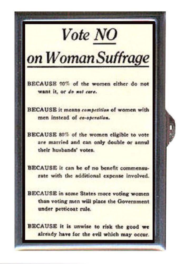 Vote NO on Women's Suffrage, Retro Nonsense: Coin, Mint, Pill Box USA Made