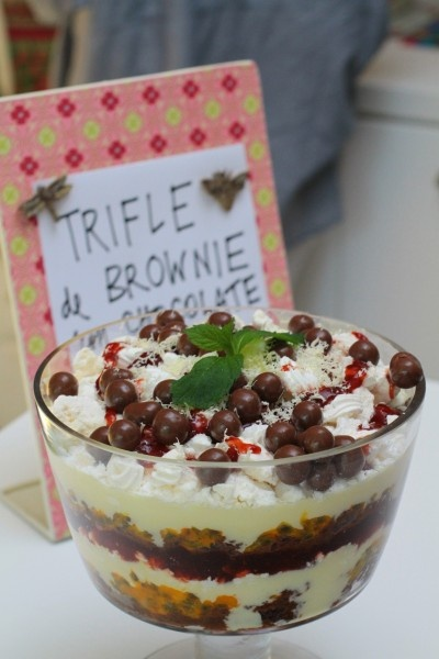 Trifle de Brownie con Chocolate Blanco