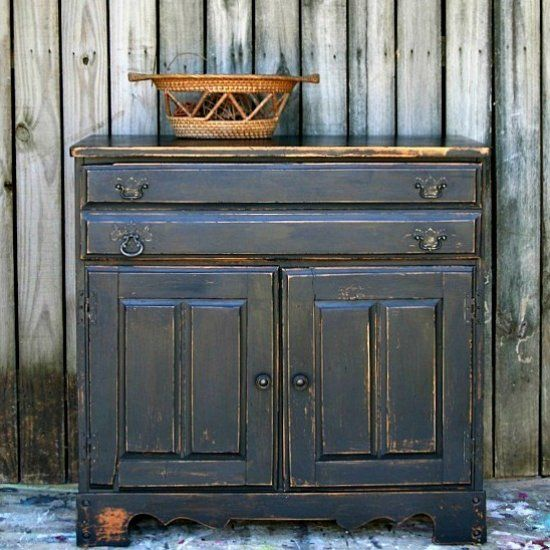 Sometimes Used Furniture Is In Bad Shape. Paint It And Distress Heavily.  The Distressed