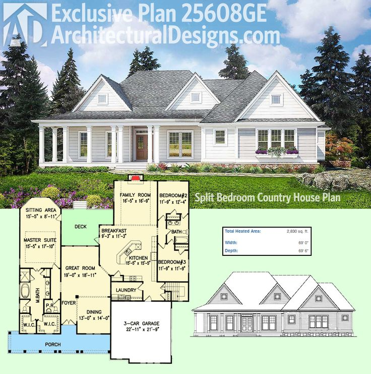 Architectural Designs Exclusive House Plan 25608GE has a modern farmhouse exterior and a split bedroom layout inside. The master suite sitting area has access to the deck in back. Ready when you are. Where do YOU want to build?