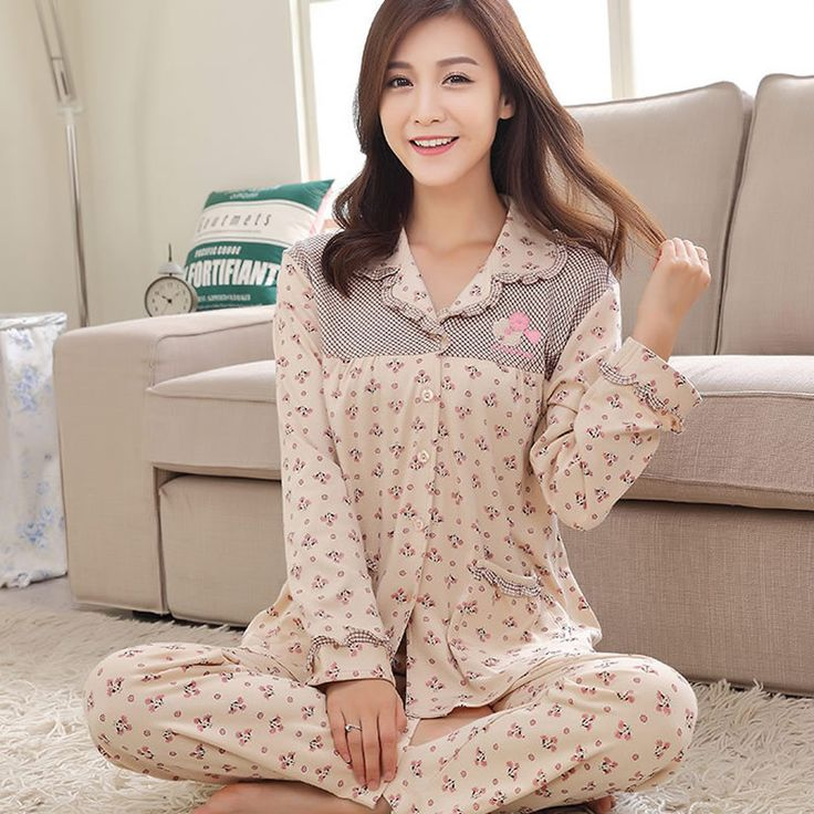 Cotton Winter Pajama Set, different size for choice, top & bottom