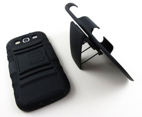 CELL PHONE ACCESSORIES /  SAMSUNG GALAXY S4 EXTREME RUGGED IMPACT HARD CASE HOLSTER - BLACK $25.00 Price