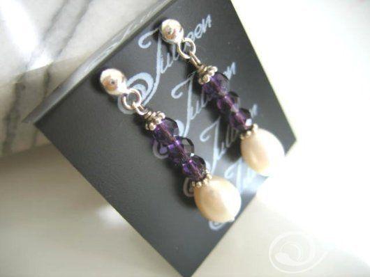 Tammy Bridal Amethyst Drop Earrings E026-14A