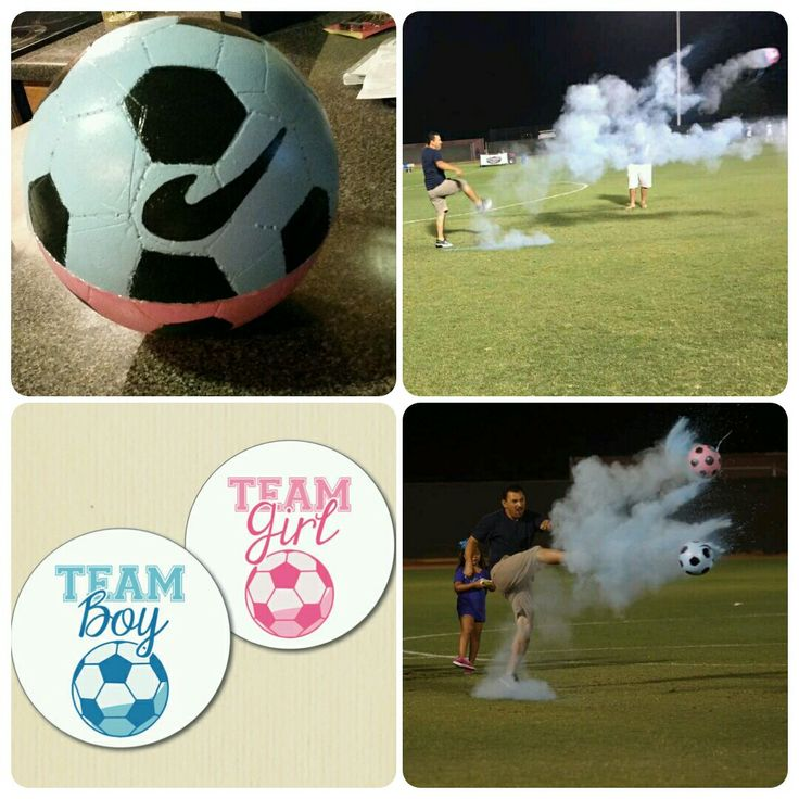 """SOCCER GENDER REVEAL:  Boy or Girl?  If you like Soccer.. try this. This was really easy to do and super affordable. 1st I got two of the styrofoam hollow half balls at Michaels. I bought paint to decorate the ball to make it look like a Soccer ball. As for the """"powder""""... I bought chalk (like the one kids use to write on the floor/cement) and I blended it in the kitchen blender. I put the chalk inside one of the halves and than I super glued the other half on top... with a hot glue gun I…"""