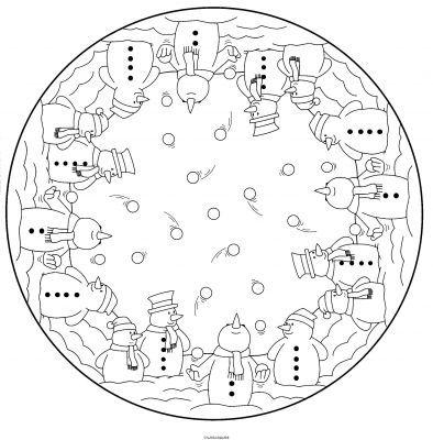 coloriage mandala bonhomme de neige