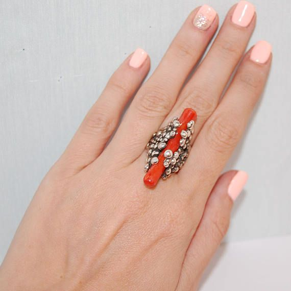 Stunning authentic red coral ring Handmade sterling silver