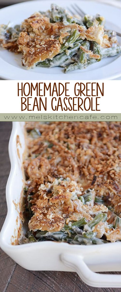 This homemade green bean casserole is surprisingly simple to prepare, and that extra crunchy, buttery topping is irresistibly delicious! Make-ahead tips in the recipe!