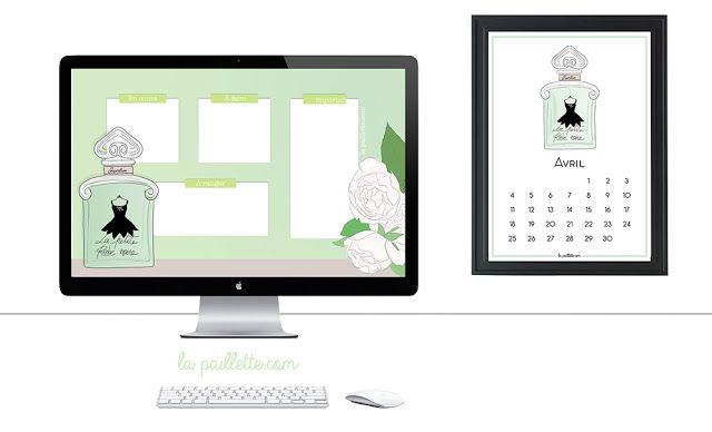 Calendrier calendar avril april free printable fond d'écran organisé desktop wallpaper organizer la petite robe noire guerlain parfum illustration green white flowers minimalist 2016 fragrance