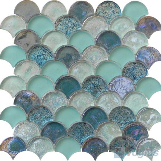 Turquoise Fan Shape Fish Scale Glass Tiles VG-UFN99