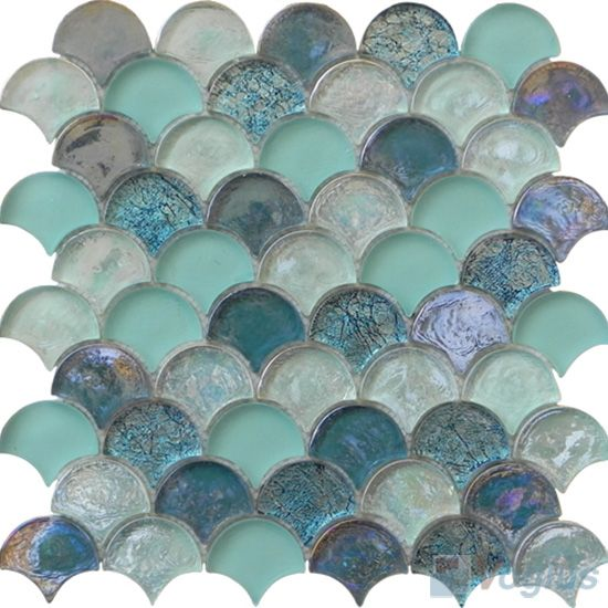 pool fish scale tiles | Turquoise Fan Shaple Fish Scale Glass Tiles VG-UFN99