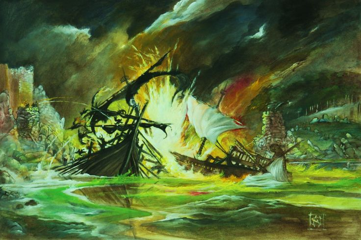 The Battle of Blackwater Bay: Fantastic Acrylic Painting by Wiligothic