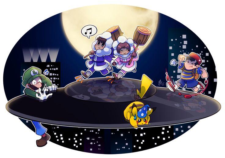 Ice Climbers, Ness, Luigi and Pikachu over a UFO.