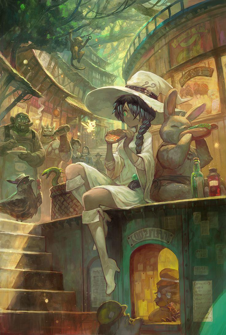 々に白魔女です。今日はお使いついでに屋台街にて買食いしているような そんなシーンです