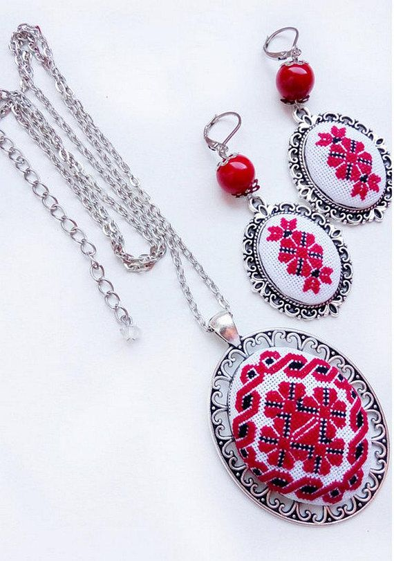Details This beautiful of Red Ukrainian embroidery Necklace and Earrings, with a hand cross stitch embroidered. A perfect accessory or gift for the delicate and dainty loving lady! Romantic Necklace and Earrings. It is a great accessory for an everyday wear. This Necklace and