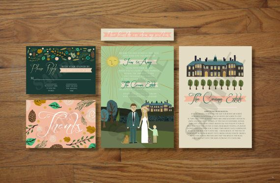 Custom Illustrated Wedding Invitations  Invite RSVP by chicksnhens, $330.00  This is a unique one