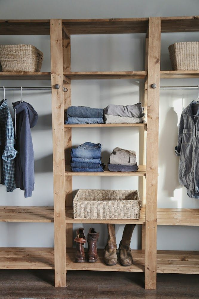 Ana white build a industrial style wood slat closet - Clothing storage ideas no closet ...