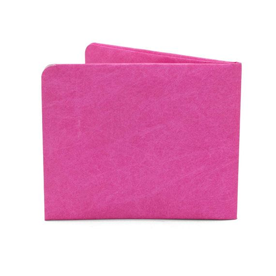 Paper-Thin Wallet Unisex for Men & Women - Solid Pink Design - Made in Tyvek - Eco-friendly and 100% Recyclable