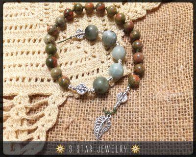 BPB48-1  Unakite Gemstone Baha'i Prayer Beads  Alláh-u-Abhá by 9StarJewelry #Bahai #BahaiFaith #BahaiPrayerBeads #95Prayers #CrystalPrayerBeads #chantingbeads #BeadingAccessories #PrayerBeadsBracelet #BeadedNecklace #CustomPrayerBeads #CalmingBeads