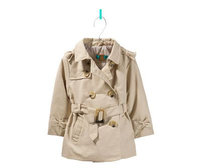 Trench Coat With Tabs And Bow Jackets Baby Girl Kids