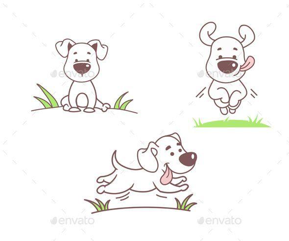 Set Of Dogs Animals Characters Hund Illustration Hund Cartoons Cartoon Zeichnen