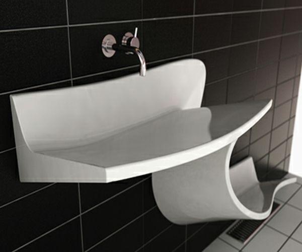 einzigarte Waschbecken -schwarz-weiss-fliesen-wand-armatur-design
