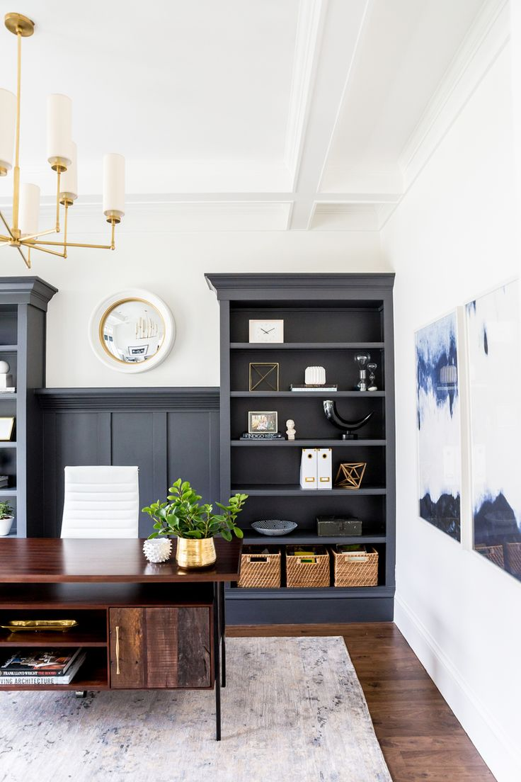blue white office space. Dark+built-ins+with+white+walls+--+Studio+ Blue White Office Space
