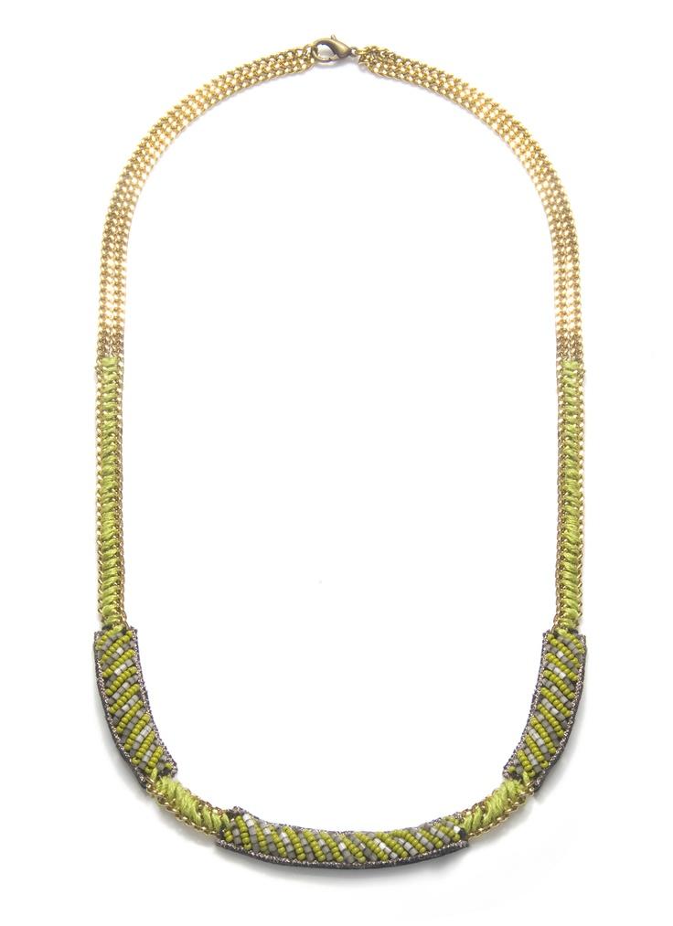 Gossip Girl oyuncularının gözdesi Suzanna Dai tasarımlarından Nairobi Kolyenin aşağı kısmı deri üzerine ince sarı boncuklu apliklerden, orta kısmı ise zincire sarılmış ipliklerden oluşmuştur; üst kısmı ise sarı metal zincir ile bitirilmiştir. Kolyenin aşağı kısmında ise  aplikten farklı olarak yine ince zincir üzerine sarılmış  sarı ip ile ara detaylar verilmiştir. http://www.stilimo.com/urunler/11061/nairobi-sari-kolye-suzanna-dai