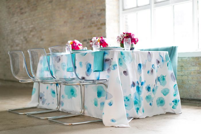 Modernly Wed - Bold Purple + Teal Watercolor Inspiration Session   Images by Heather Cook Elliot Photography, Styling by Tailored Engagements   Via Modernl...
