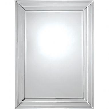 Ce design contemporain poss�de un cadre dimensionnel avec miroir biseaut� ainsi qu'un miroir central biseaut�. Avec ses lignes pures et son look �l�gant, ce miroir est du meilleur effet et vraiment spectaculaire. �