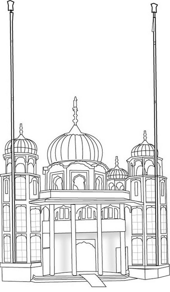gurdwara colouring sheet  with images