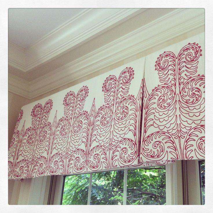 Curtain valance in Quadrille fabric, Horton Design installation.