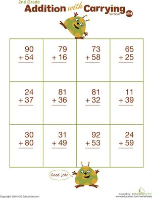Second Grade Addition Worksheets: Double Digits! Practice Vertical Addition with Carrying 54