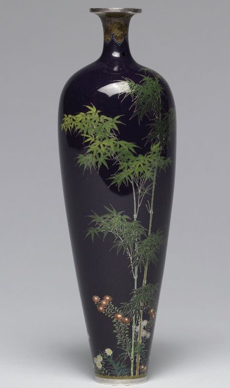 Vase with Bamboo and Birds (back) by Namikawa Yasuyuki Japanese Cloisonné Enamels from the Stephen W. Fisher Collection.