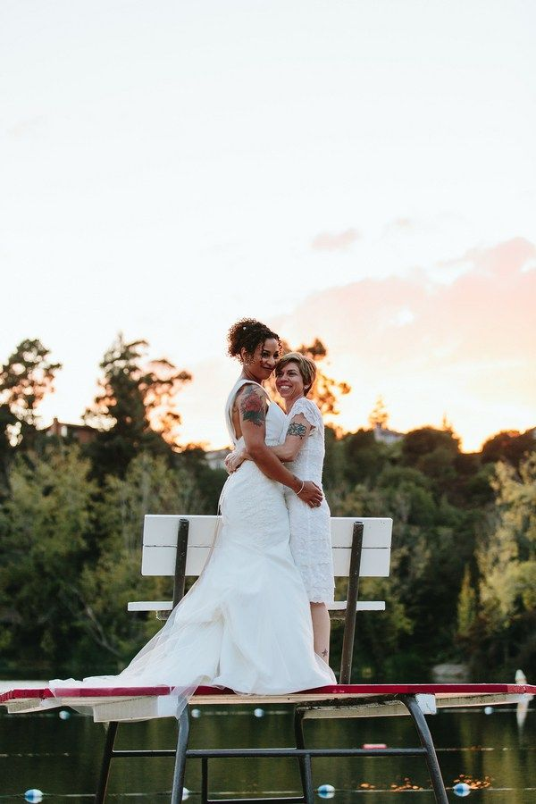 I am squeeing over the styles of these two brides. Short and sleek for Angie, romantic and flowing for Raquel. No veil for one, long veil for the other.