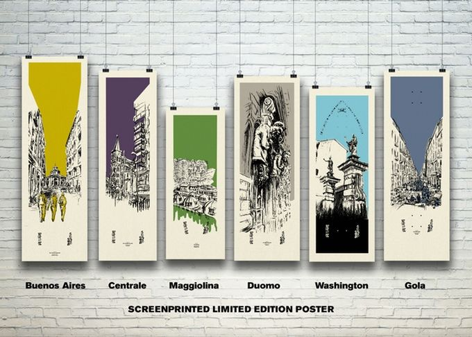 Silkscreen printed illustration by Serio Collective. Poster series of 12 cityscape charcoal drawings, screen printed by hand in a limited edition. available to order on Kickstarter.  Each representing a different neighbourhood in Milan. Hand made