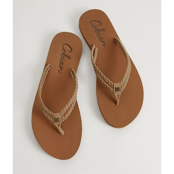 Cobian Leucadia Flip ($26) ❤ liked on Polyvore featuring shoes, sandals, flip flops, brown, brown flip flops, brown shoes, cobian sandals and flip shoes