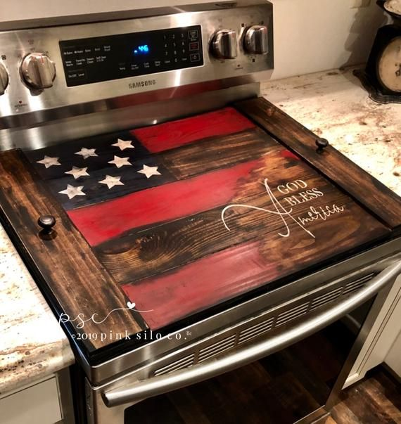 American Flag Noodle Board American Flag Stove Cover Etsy Rustic Americana Decor Stove Top Cover Noodle Board