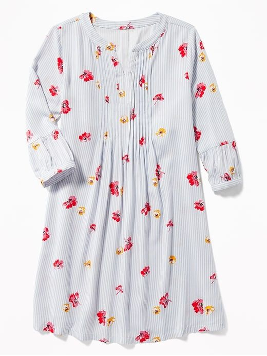 91dcd387a Floral-Print 3 4-Sleeve Swing Dress for Girls