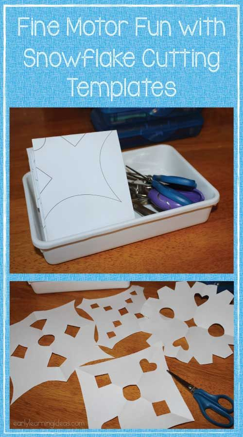 Encourage cutting practice with snowflake templates.  Scissor skills practice for the Frozen fans.