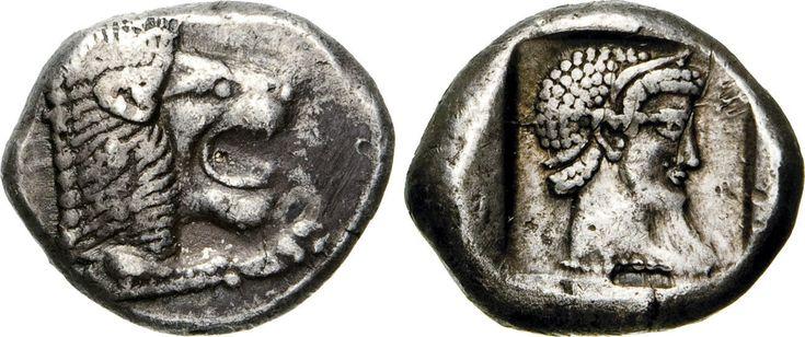 NumisBids: Numismatica Varesi s.a.s. Auction 65, Lot 20 : CARIA - KNIDOS - (500-490 a.C.) Dracma. D/ Testa di leone R/...