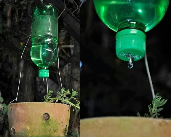 DIY Hanging Drip: plastic bottle w/cap. Drill hole in cap & insert bigger screw into hole; rock back/forth til leaks. pay attention to speed of drip, adjust til desired flow. if too slow, will clog. Hang using rope/wire above water. OR dig hole near plant(s), to bury 1/3-1/2 the bottle. Place bottle in hole w/cap side down & secure in hole by pressing dirt around. can add fertilizer to bottle every few weeks so plants are fertilized at the roots.