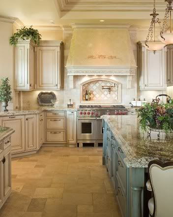 French Country Kitchen ~ examples of black or chocolate glaze over white cabinets,large island,   interior design ideas and home decor