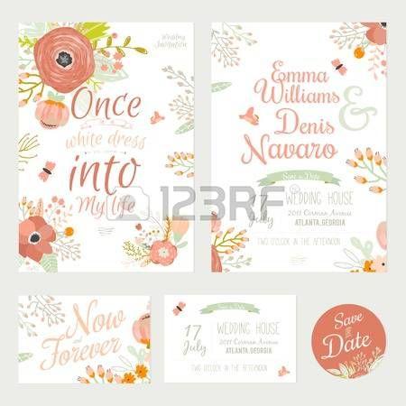 wedding+invitation%3A+Floral+rom%C3%A2ntico+do+vintage+salvar+o+convite+da+data+em+cores+brilhantes+no+vetor.+Wedding+modelo+do+cart%C3%A3o+de+caligrafia+com+r%C3%B3tulos+cart%C3%B5es%2C+fitas%2C+cora%C3%A7%C3%B5es%2C+flores%2C+setas%2C+grinaldas%2C+louro.