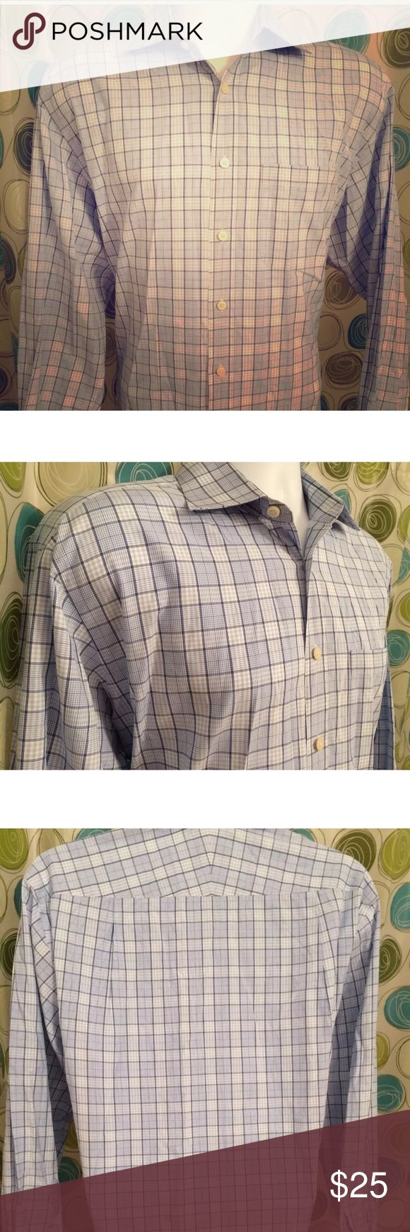 "CHARLES TYRWHITT French cuff plaid shirt 16 1/2 Luxury brand  CHARLES TYRWHITT  Jermyn Street London  In excellent condition  French cuff  Two toned blue plaid  16 1/2  36"" sleeve Charles Tyrwhitt Shirts Casual Button Down Shirts"
