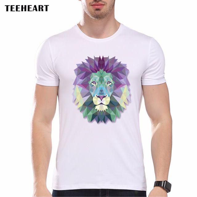 Men's Summer Geometric Animal Art Print T-Shirt  Men T shirt  Hipster O Neck Brand Novelty Tees la201