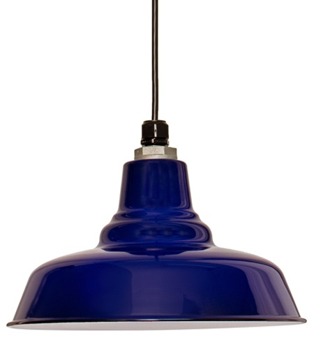 industrial vintage cobalt blue pendant light (for the kitchen?)