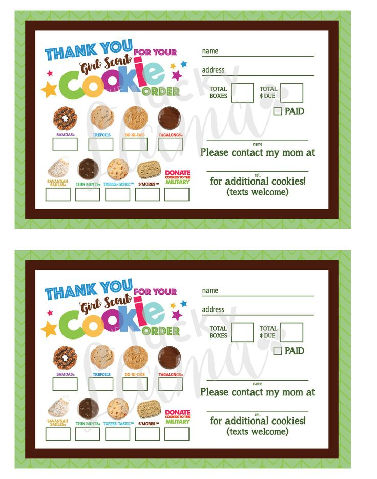 Listing is a printable Girl Scout Cookie thank you/receipt design. This can be delivered with your cookies as a thank you and also a great way to get your customers coming back for more!!!! You will receive a printable 8.5 x 11 with 2 order forms on one page as well as a bonus of an
