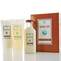 Forever Aroma Spa Collection (artnr 285) Een luxe driedelige aromatherapie set voor een spa ervaring in uw eigen huis. Verwen uw lichaam met kwalitatief hoogwaardige ingrediënten waaronder aloë vera, lavendel, witte thee en essentiële oliën. De producten zijn ook afzonderlijk verkrijgbaar.   Aroma Spa Collection bevat;  Relaxation Bath Salts (286) Relaxation Shower Gel (287) Relaxation Massage Lotion ( 28