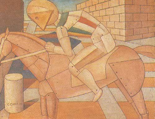 Carlo Carra,  The Horseman Fine Art Reproduction Oil Painting
